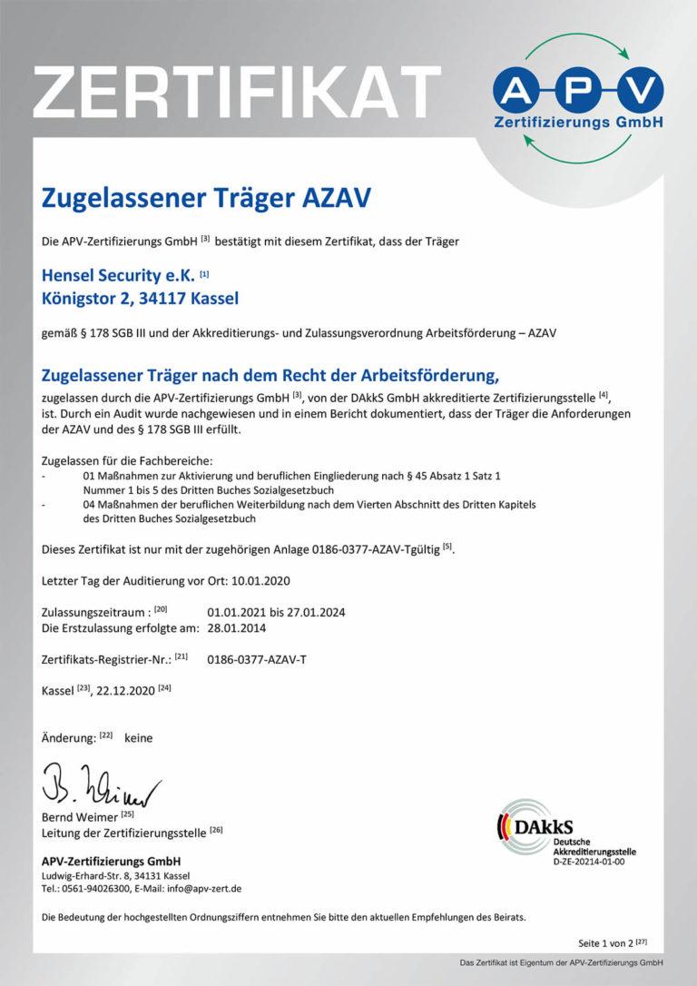 Zertifikat AZAV 0186-0377-AZAV-T-1-Vorderseite